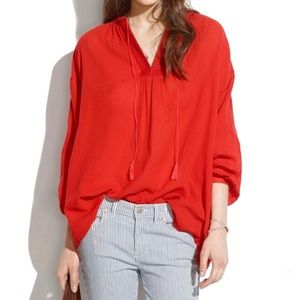 Madewell Openview Red Tunic Embroidered Top Sz M